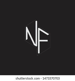 NF Initial Letters logo monogram with up to down style isolated on black background