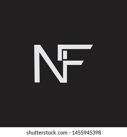 NF initial logo Capital Letters black background