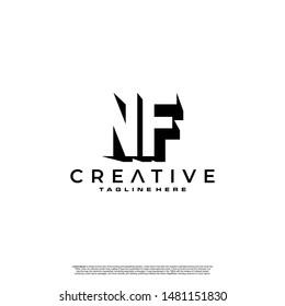 NF Letter Initial Logo Design in shadow shape design concept