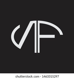 NF Logo letter oval monogram design template with black and white colors