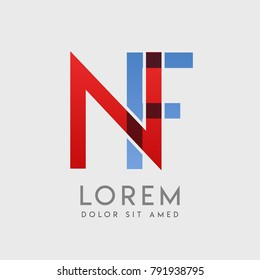 """NF logo letters with """"blue and red"""" gradation"""