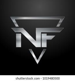 NF Logo, Metal Logo, Silver Logo, Monogram, Polygon