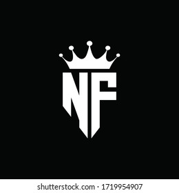 NF logo monogram emblem style with crown shape design template