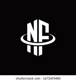NF monogram logo in a hexagon style and surrounded by a ring