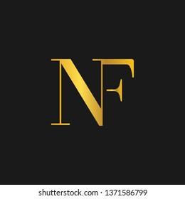 NF or N F letter alphabet logo design in vector format.
