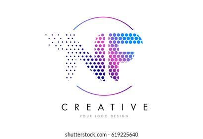 NF N F Pink Magenta Dotted Bubble Letter Logo Design. Dots Lettering Vector Illustration