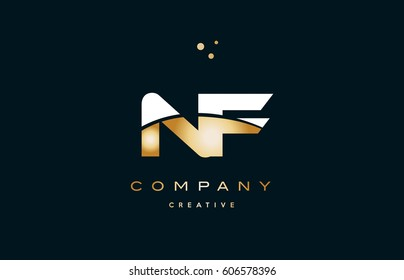 nf n f  white yellow gold golden metal metallic luxury alphabet company letter logo design vector icon template