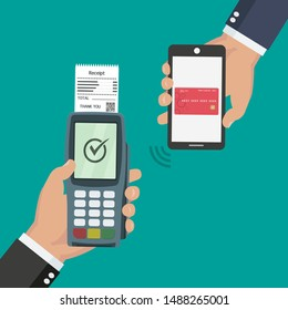 Nfc payment flat design style vector illustration. One hand is holding pos terminal and another one is making the payment using a smartphone