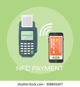 Nfc payment flat design style vector illustration, pos terminal confirms the payment using a smartphone