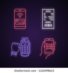 NFC payment neon light icons set. Cash receipt, QR code scanner, NFC smartphone and smartwatch. Glowing signs. Vector isolated illustrations