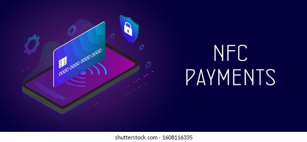 NFC Payment - online mobile and cashless vector concept with isometric smartphone, nfc technology symbol, atm bank card and padlock shield icon. Header and footer horizontal banner template with text.