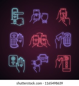NFC technology neon light icons set. NFC bracelet, door lock, data transfer, smartphone, car. Near field communication. Contactless payment. Glowing signs. Vector isolated illustrations