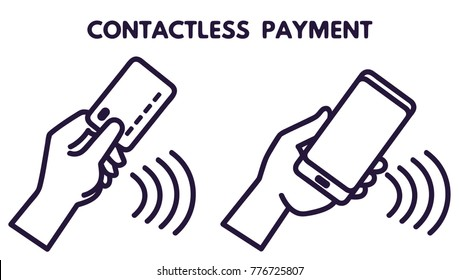 NFC technology payment vector ounline icon. Contacless, wireless payment with credit plastic card, smartphone, POS terminal. Mobile pay sign
