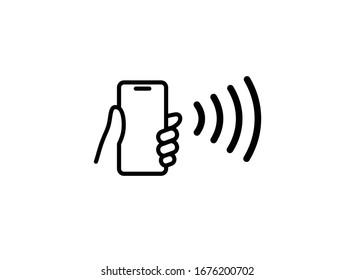 Symbol für die Vektorillustration von NFC-Technologien. Handgeben Telefon, Smartphone, warten Sie einfache Linie Umriss-Schild. Near Field Communication nfc Zahlungskonzept. Flaches Design einzeln auf Weiß.
