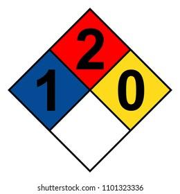 NFPA 704 diamond 1-2-0 sign, vector illustration.