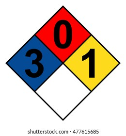 NFPA 704 diamond 3-0-1 sign, vector illustration