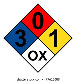 NFPA 704 diamond 3-0-1-OX sign, vector illustration