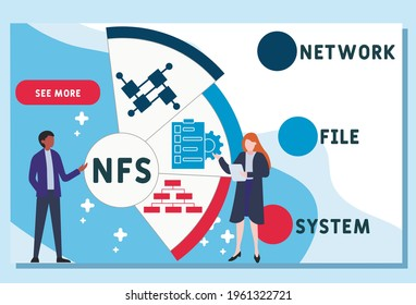 NFS - Network File System  acronym. business concept background.  vector illustration concept with keywords and icons. lettering illustration with icons for web banner, flyer, landing pag
