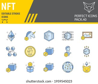 NFT color line icon set, non fungible token collection, vector graphics, logo illustrations, NFT blockchain vector icons, cryptocurrency signs, filled outline pictograms, editable stroke
