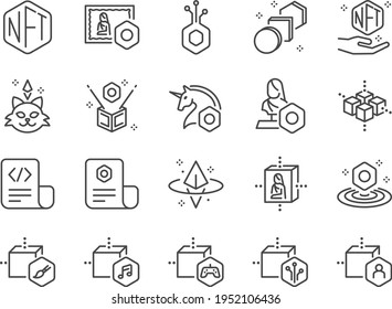 NFT line icon set. Included the icons as Non-fungible token, Blockchain, unique, crypto, currency, and more.