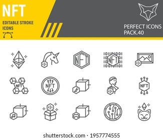 NFT line icon set, non fungible token collection, vector graphics, logo illustrations, NFT blockchain vector icons, cryptocurrency signs, outline pictograms, editable stroke