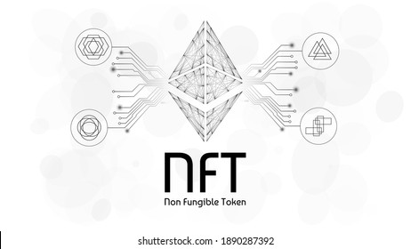 NFT non fungible tokens infographics with pcb tracks and different tokens on white background. Pay for unique collectibles in games or art. Vector illustration.