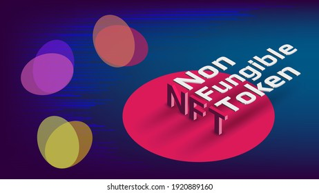 NFT non fungible tokens infographics with isometric text and abstract shapes on blue background. Pay for unique collectibles in games or art. Vector illustration.