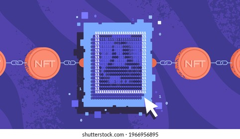 NFT. Non-fungible token concept. Chain with crypto coins and digital art. Artwork in binary code style. Not interchangeable copy for gallery.