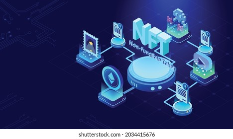 NFT nonfungible tokens concept on dark blue background digital art files, games, collectibles, music unique creations. . 3d rendering Isometric NFT with