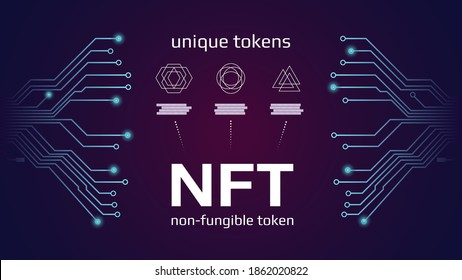 NFT nonfungible tokens infographics with pcb tracks on dark background. Pay for unique collectibles in games or art. Vector illustration.