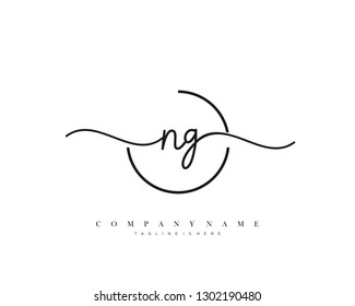 NG initial handwriting logo template vector