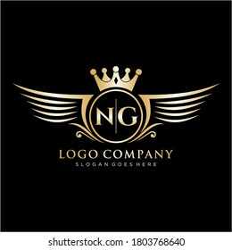 NG Letter Initial with Royal Wing Logo Template.