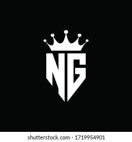 NG logo monogram emblem style with crown shape design template