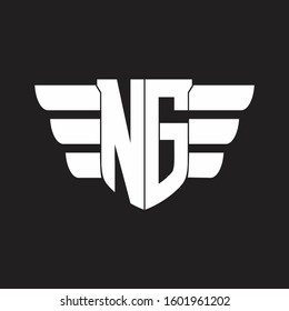 NG Logo monogram with emblem and wings element design template