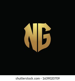 NG logo monogram with gold colors and shield shape design template