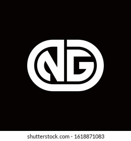 NG monogram logo with an oval style on a black background