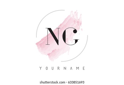 NG N G Watercolor Letter Logo Design with Circular Shape and Pastel Pink Brush.