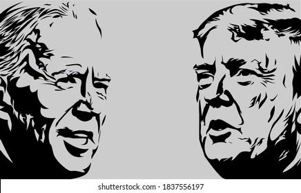 Nganjuk indonesia 21 october 2020: Illustration showing Republican Donald Trump vs Democrat Joe Biden face-off for American president