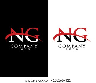 ng/gn initial letter logotype company logo swoosh design vector