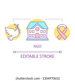 NGO concept icon. Nonprofit organization idea thin line illustration. Charitable foundation. Non-governmental organizations. Cancer, HIV, AIDS awareness. Vector isolated outline drawing