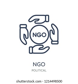 Ngo icon. Ngo linear symbol design from Political collection. Simple outline element vector illustration on white background.