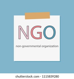 NGO Non-Governmental Organization in a notebook paper- vector illustration