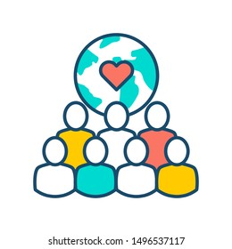 NGO organization color line icon. Non profit community. Charity, volunteering concept. Sign for web page, mobile app, banner, social media. Editatable stroke.