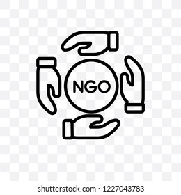 Ngo vector linear icon isolated on transparent background, Ngo transparency concept can be used for web and mobile