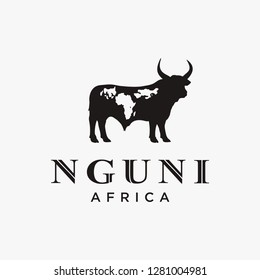 Nguni buffalo cow logo icon vector template on white background with african word map mark