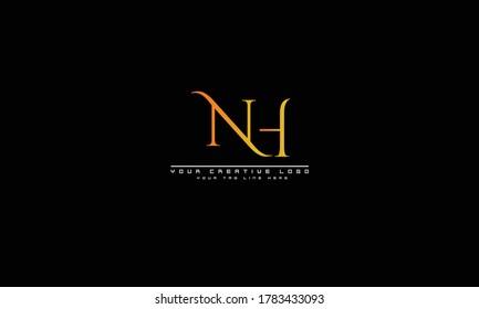 NH HN abstract vector logo monogram template
