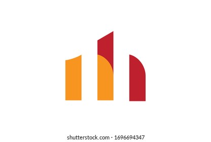 nh or hn and n or h Letter Initial Logo Design, Vector Template