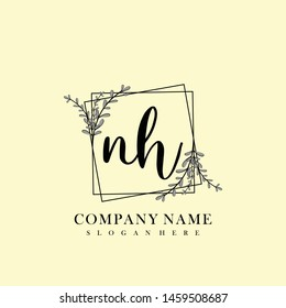 NH Initial beauty floral logo template