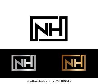 NH initial box shape Logo designs template