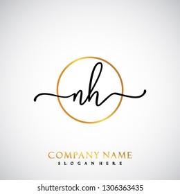 NH Initial Handwriting logo template vector